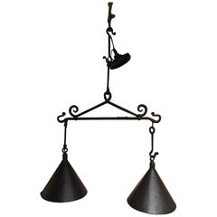 Pair of Iron and Copper Kitchen Island or Billiard Light Fixtures, 20th Century.