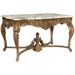 French Antique Marble-Topped Giltwood Centre Table