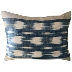 Mid-19th Century French Home Spun Indigo Dyed Ikat Pillow #2