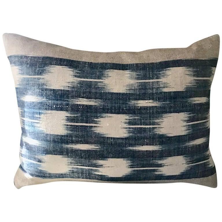 Mid-19th Century French Home Spun Indigo Dyed Ikat Pillow #2