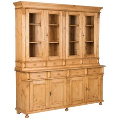 Large Reproduction Pine Breakfront Bookcase Cabinet