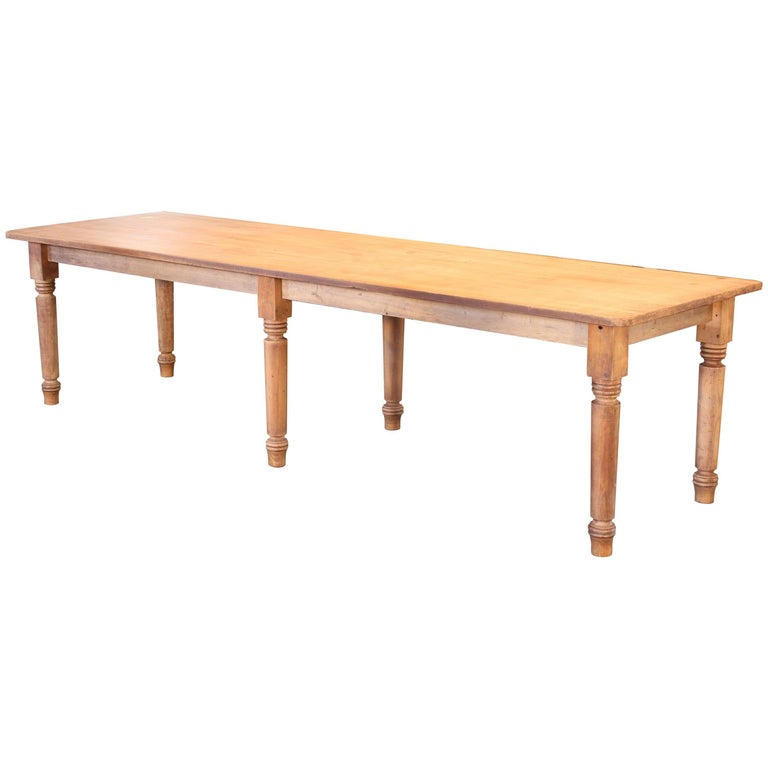 Vintage Refectory Farm Dining Table, Pine and Tulip Wood For Sale