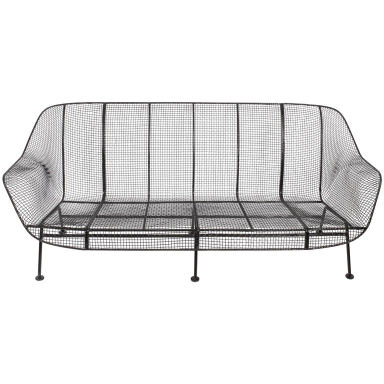 "Russell Woodard Black ""Sculptura"" Three-Seat Sofa For Sale"