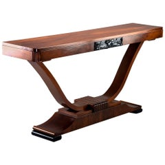 Walnut Art Deco Console with Carved Detail
