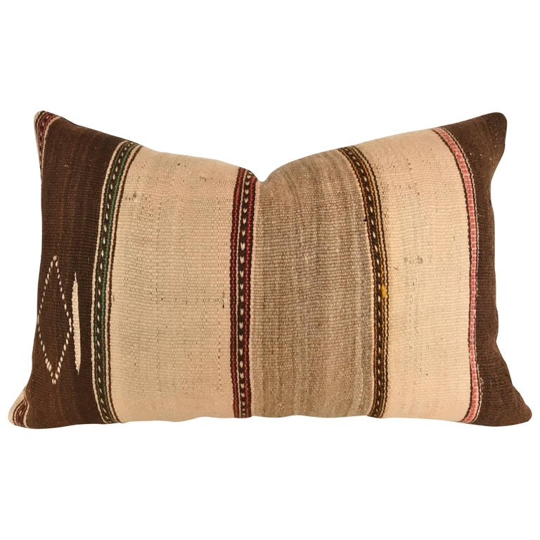 Custom Pillow cut from a Vintage Moroccan Hand Loomed Wool Ourika Berber Rug