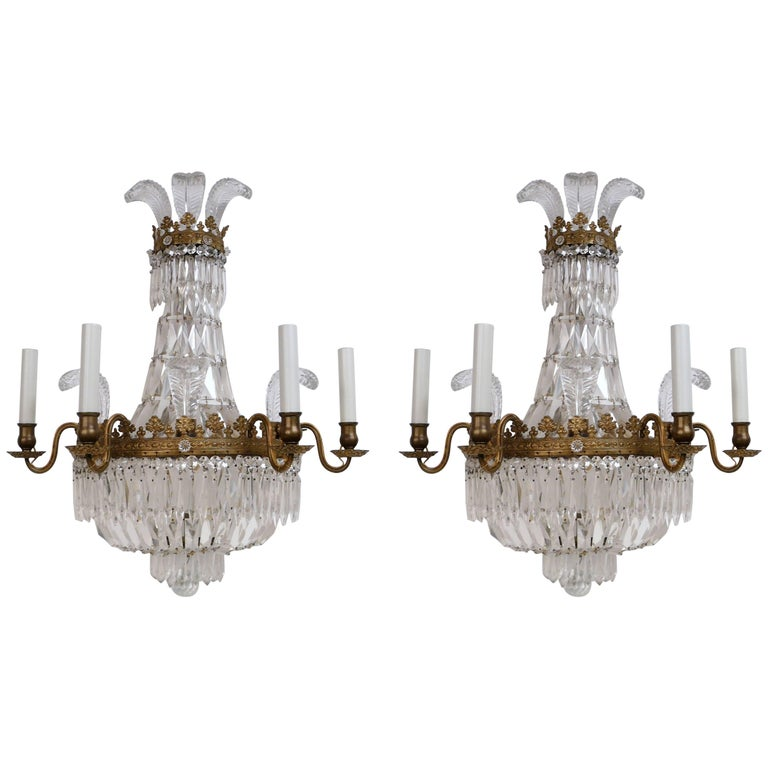 Pair Regency Style 'Prince of Wales' Plume Sconces