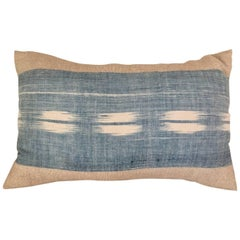 Mid 19th Century French Home Spun Indigo Dyed Ikat Pillow