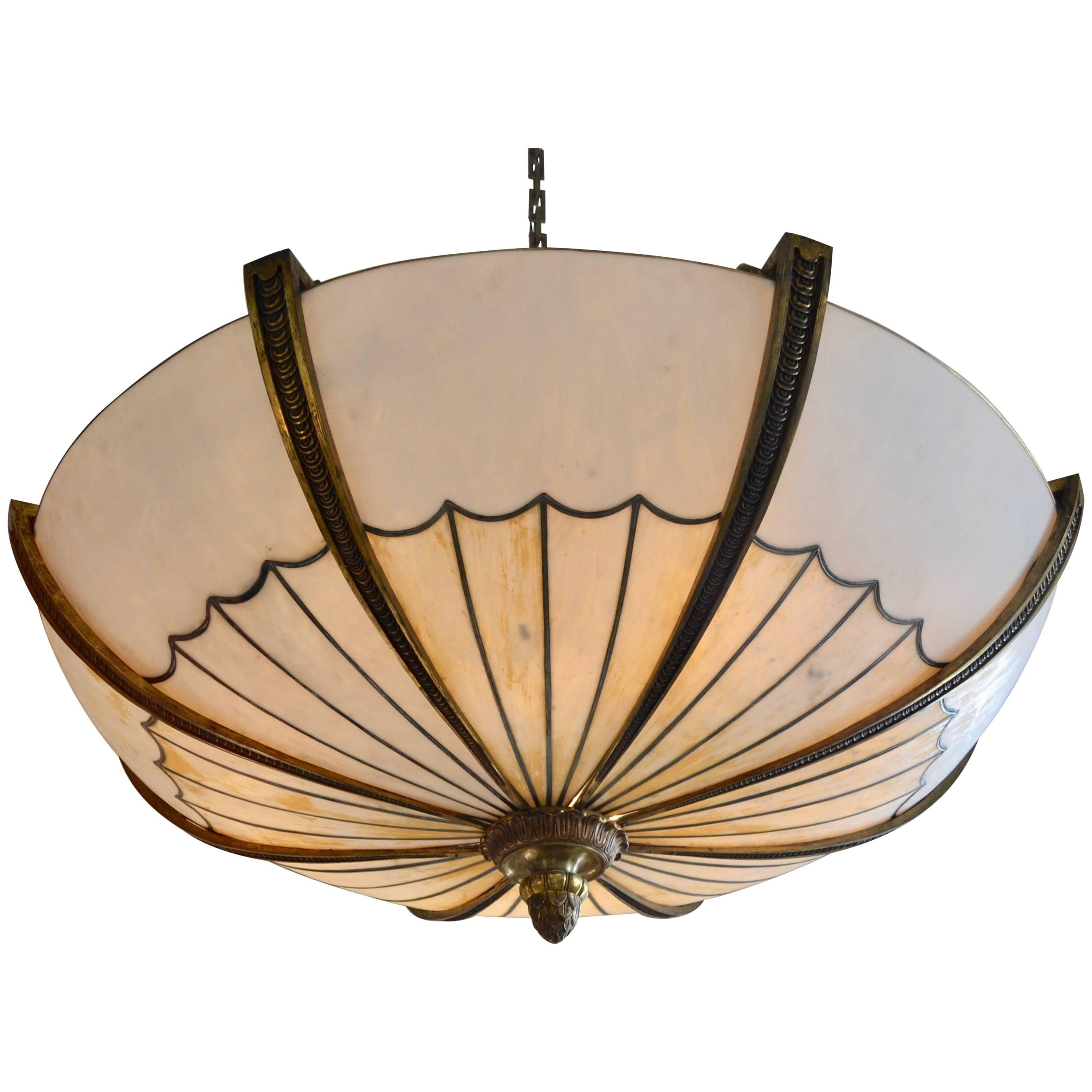Monumental gilt bronze and calcite glass chandelier for sale at 1stdibs