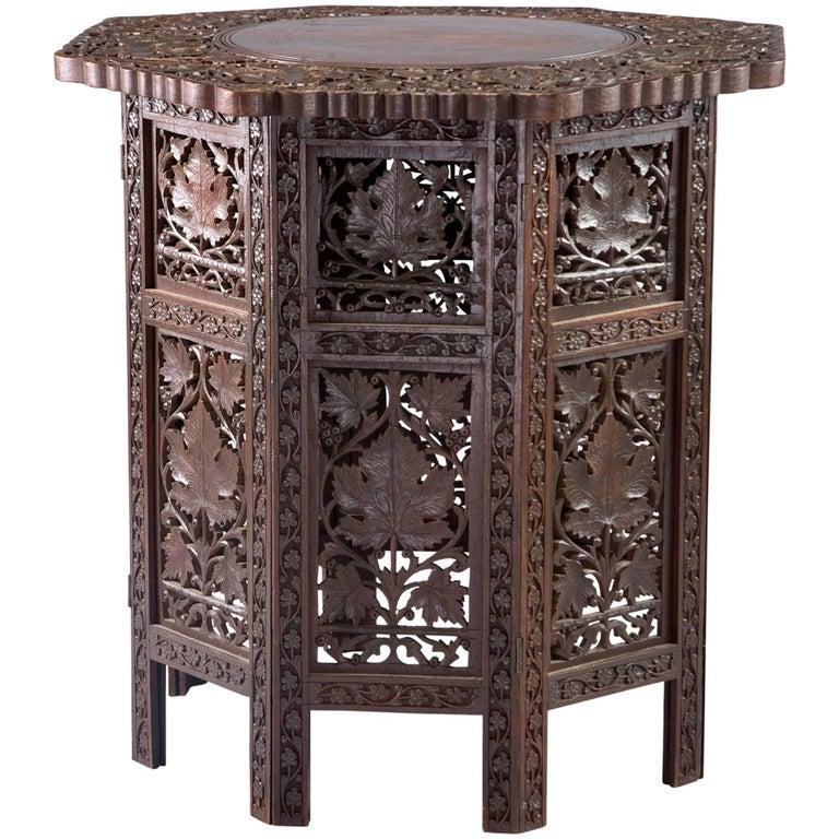Carved Teak Moorish Table with Grape Leaf Design