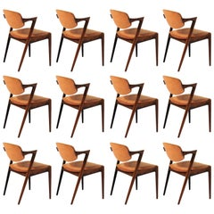 1960s Set of 12 Kai Kristiansen Rosewood Dining Chairs - Upholstery of Choice