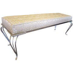 Long French Art Deco hammered iron upholstered sitting bench, Georges Vinant