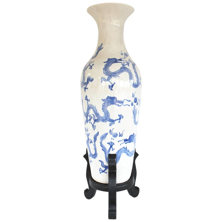 Large Chinese Blue and White Floor Vase