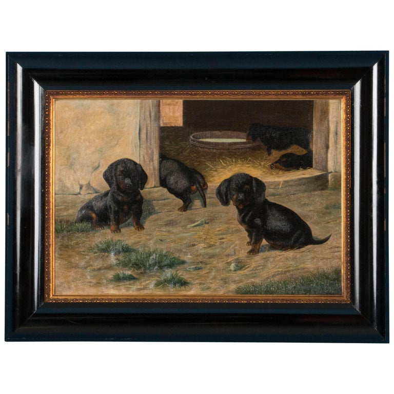 Antique Oil on Canvas Painting of Dachshund Puppies by Simon Simundson For Sale