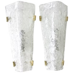 Pair of Hillebrand Brass and Glass Wall Sconces, 1965
