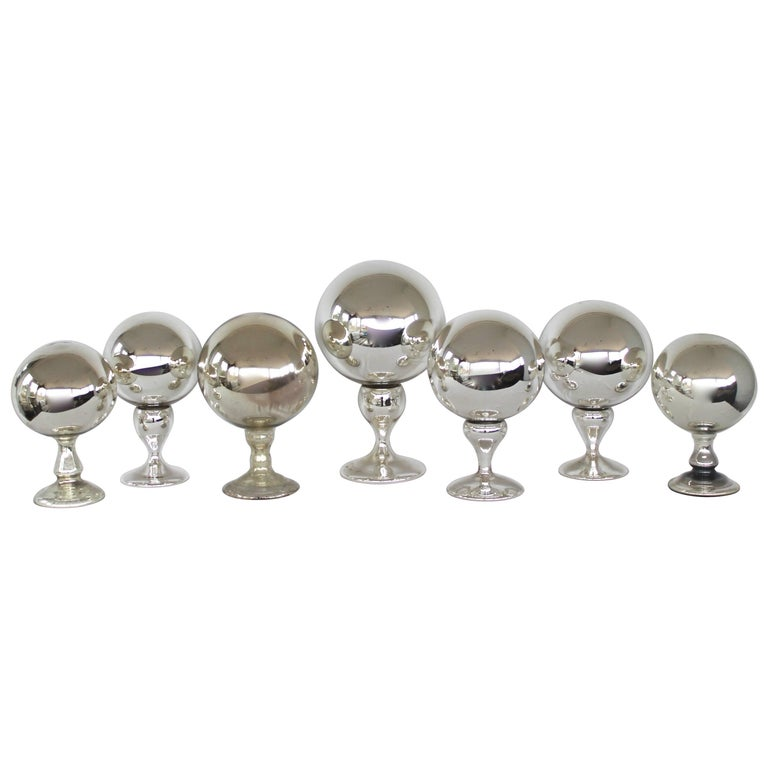 Collection of Mercury Glass Spheres  For Sale