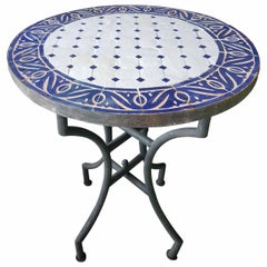 """24"""" Blue / White Moroccan Mosaic Table - CR4"""