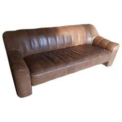 1970s Vintage De Sede DS 44 Three-Seat Sofa Brown / Cognac Buffalo Leather 'b'