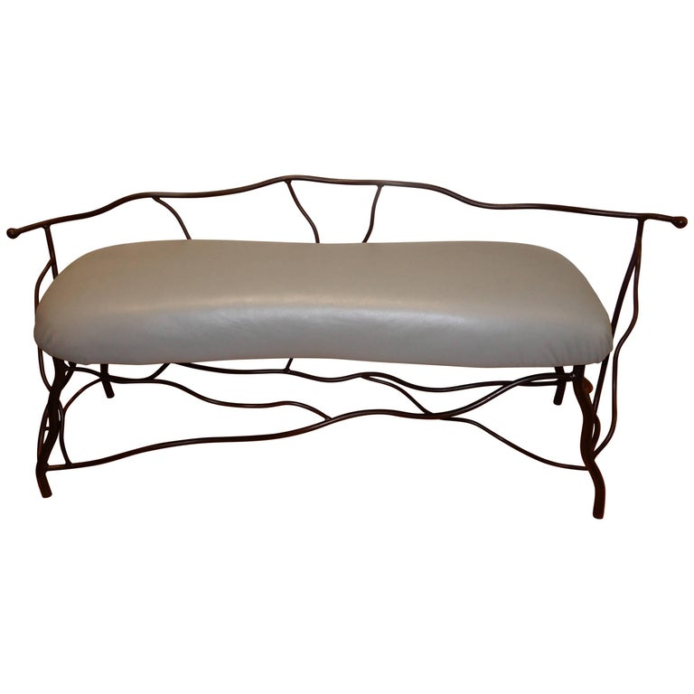 Studio Crafted Giacometti Style Sculptural Iron and Leather Bench For Sale
