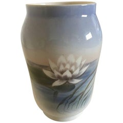 Royal Copenhagen Vase #2669/108 with Water Lily Motif