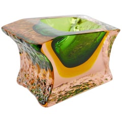 Large Italian Textured and Faceted Murano 'Sommerso' Glass Bowl by Mandruzzato