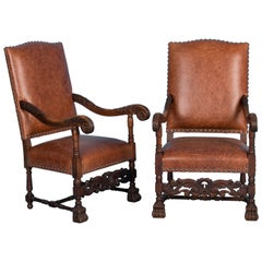 Pair, Antique Danish Baroque Armchairs Upholstered in Leather