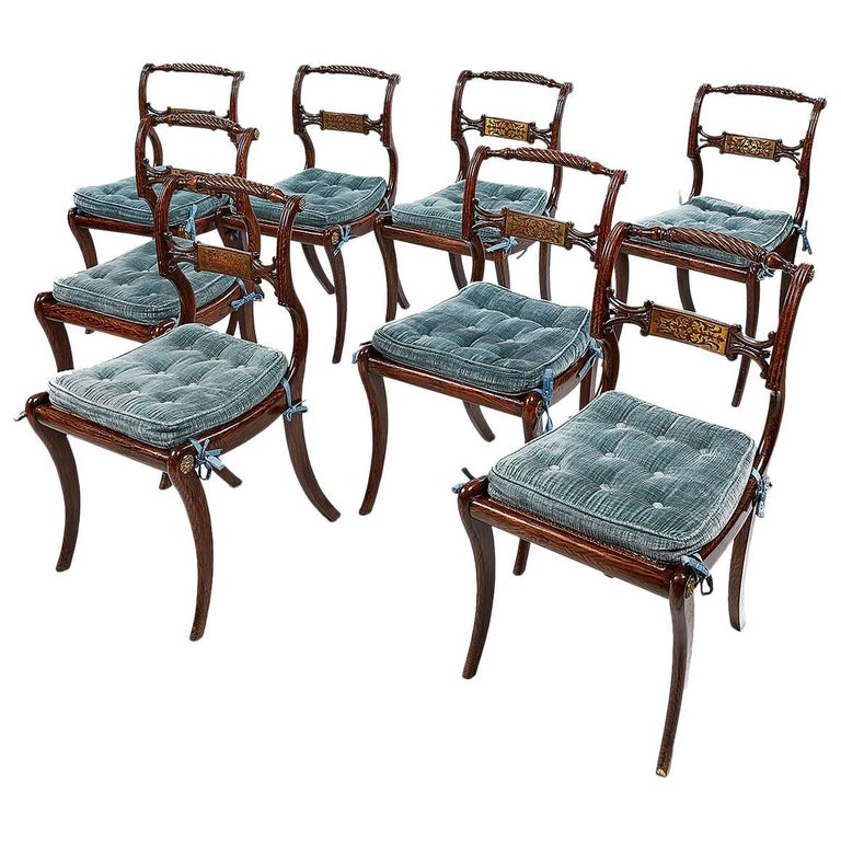 Set of Eight Irish Regency Brass Inlaid Dining Chairs