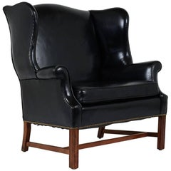 Early 20th Century English Regency-style Wingback Leather Chair