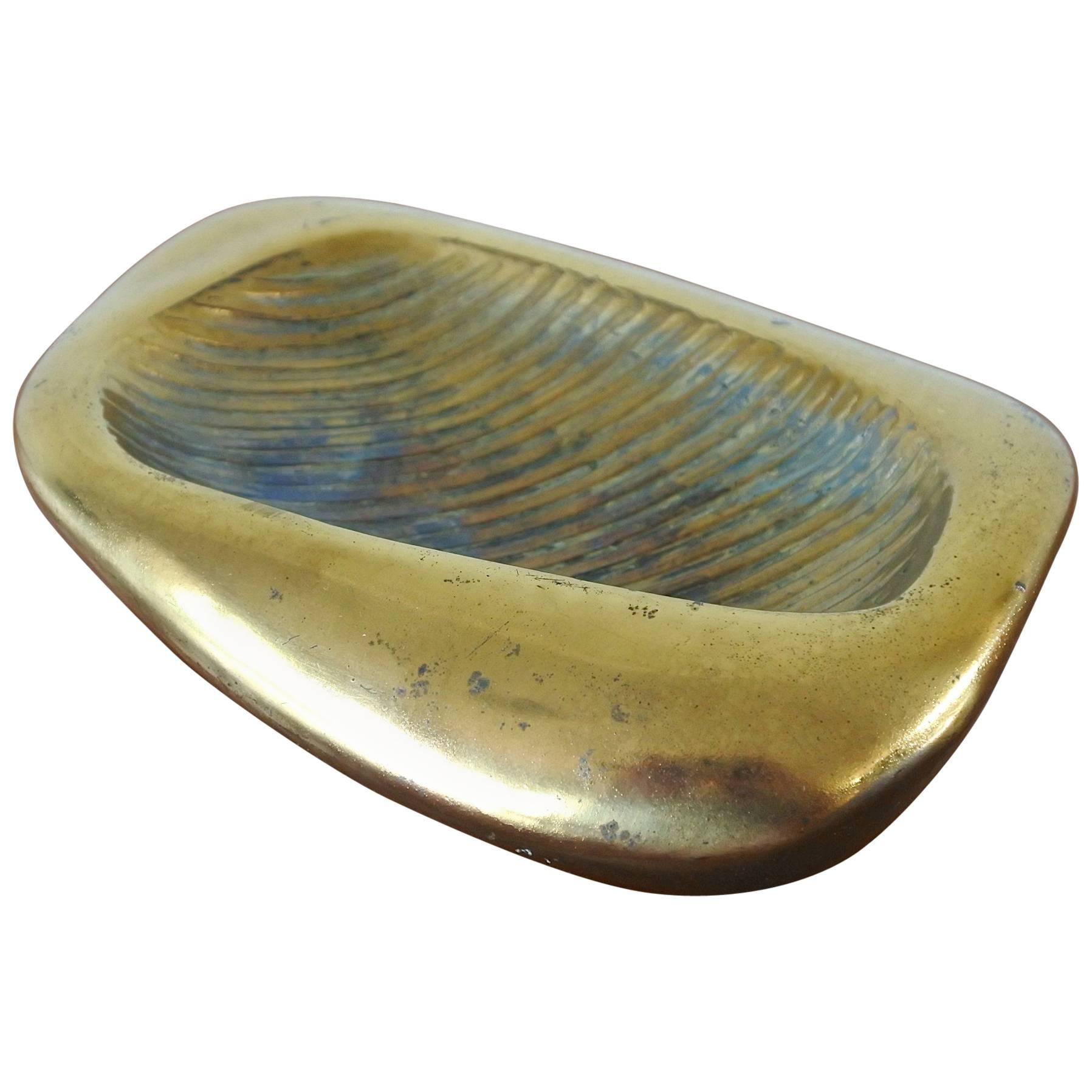Ben Seibel Midcentury Brass Vide Poche for Jenfredware, USA, 1950s