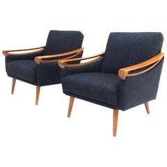 Pair of New Upholstered Mid-Century Modern Armchairs by Lifa, West Germany, 1963