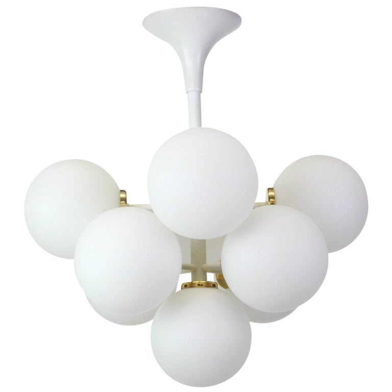 Atomic Chandelier with Opal Globes by Max Bill for Temde, Switzerland, 1960s