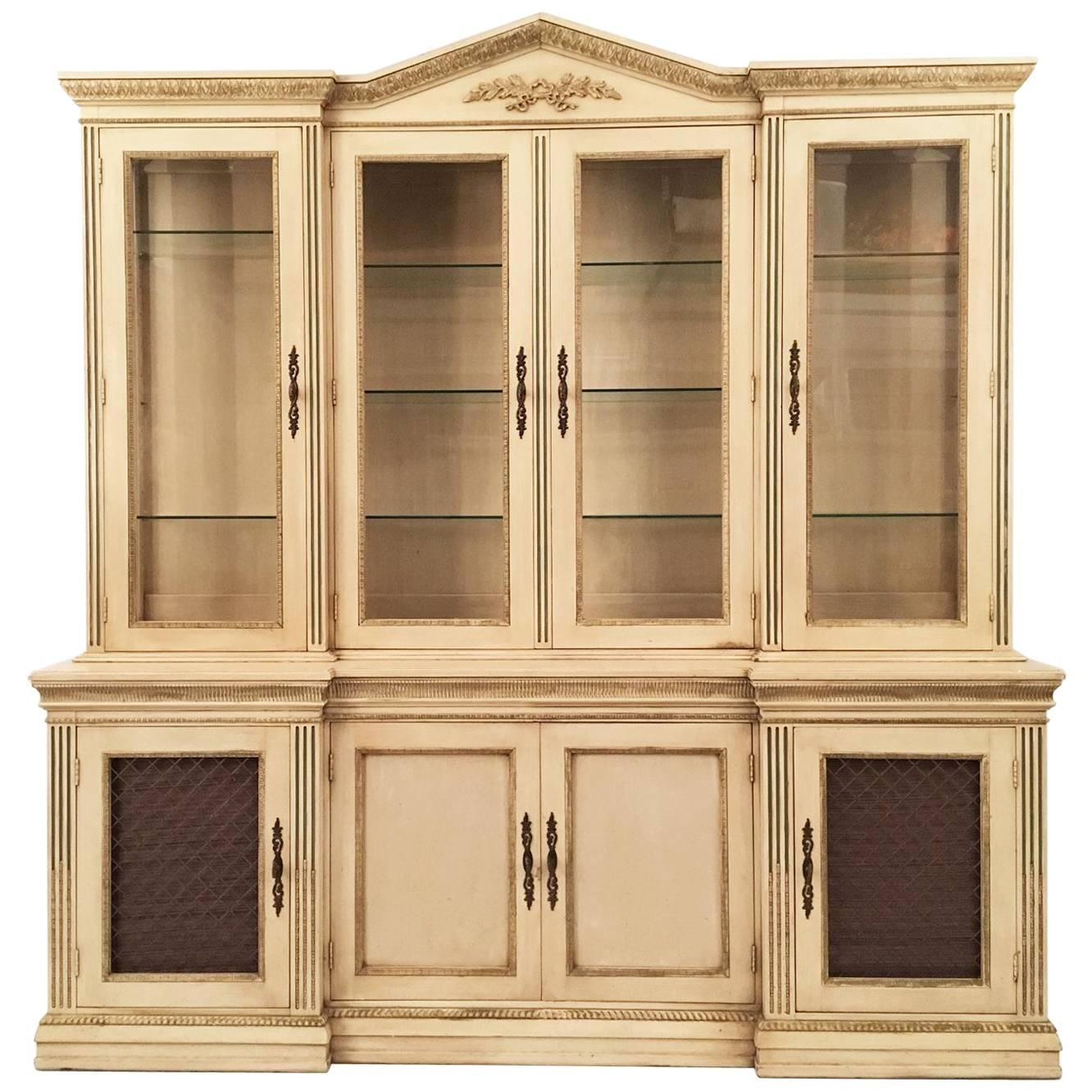 Davis Cabinet Company Lighted China Display And Buffet For Sale