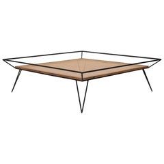 Vintage 1950s Cane and Metal Coffee Table by Martin Eisler and Carlo Hauner
