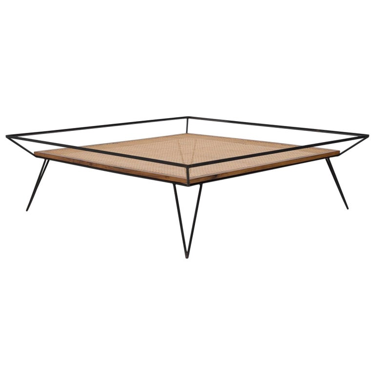 Vintage 1950s Cane and Metal Coffee Table by Martin Eisler and Carlo Hauner For Sale