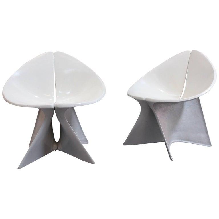 Sculptural Fiberglass Lounge Chairs