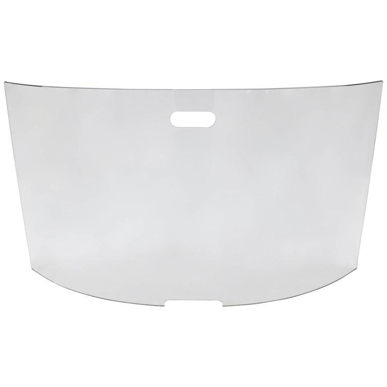 Modern Curved Glass Fireplace Screen
