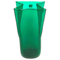 Midcentury Green Folded Glass Vase by Don Shepherd for Blenko