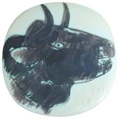 """Pablo Picasso & Madoura Ceramic """"Profil de Taureau"""", Vallauris 1956, Ramie 317"""