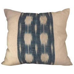 Mid-19th Century French Home Spun Indigo Dyed Ikat Pillow #6