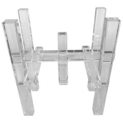 Lucite Skyscraper End Side Table Architectural Column Hollywood Regency