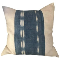 Mid-19th Century French Home Spun Indigo Dyed Ikat Pillow #7