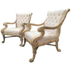 Maitland-Smith Bamboo Claw Foot Chairs