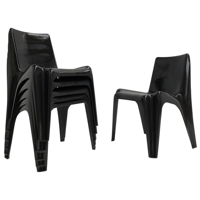 Six Black Space Age BA 1171 Chairs by Helmut Bätzner for Bofinger, Germany, 1964 For Sale