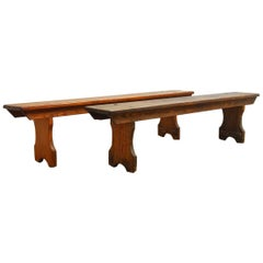Pair of 19th Century English Pine School Benches