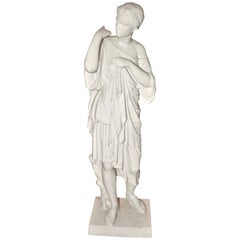 19th Century Neoclassical Bisque Porcelain Statue of Diana de Gabii by Limoges