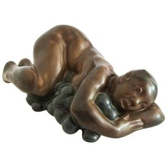Kai Nielsen Bing & Grondahl Stoneware Figurine #20 of Sleeping Woman with Grapes