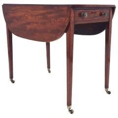 18th Century Sheraton Design Mahogany Drop Leaf Pembroke Table