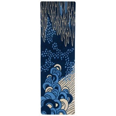 Angela Adams Sea Cave, Blue Rug, 100% New Zealand Wool, Hand-Knotted, Modern