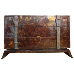 Midcentury Art Deco Style Coconut Shell Chest With Br Strap Detail