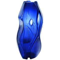 Lalique Zaha Hadid Manifesto Vase Midnight Blue Crystal Numbered Edition