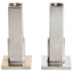 Machine Age Art Deco Candlestick Holders Merle Faber Signed 1949 Silver Plate